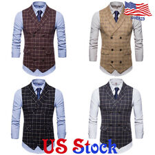 Mens Vintage Plaid Business Formal Suit Vest Double-breasted Waistcoat Jacket
