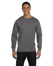 NEW Hanes Mens 100% Cotton Long Sleeve Beefy-T T-Shirt Tee S-3XL 5186