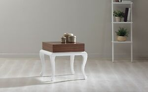 New Modern Contemporary OLIVIA Side Table in Walnut Veneer and White Wooden Legs