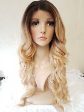 Blonde Human Hair Wig, Real Hair, side fringe, Ombré, Free Part area, Lace Front