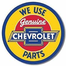 CHEVROLET We Use Genuine Parts Round Metal Tin Sign - Man Cave Garage Bar