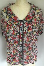 EAST Ladies Blouse Vintage Style Floral Top  Yellow Red Green UK 10