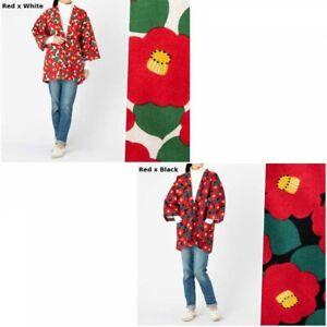 Japanese Women's Kimono Hanten Warm Wear Winter Jacket Camellia Pattern Japan