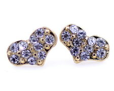 Gold tone love heart stud earrings with sparkly jewels