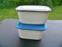 Vintage Refrigerator Storage Box Enamelware Food Tray With Lids Enamel Set (2)