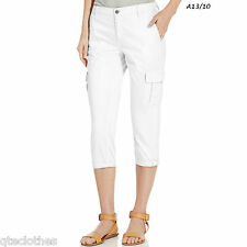 CALVIN KLEIN $69 NEW Ivory Twill Cropped Cuffed Cargo Pants Trousers 10 L23 QCO