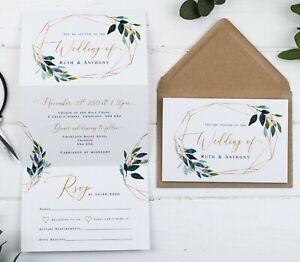 Wedding Invitation - Natural Geo Foliage