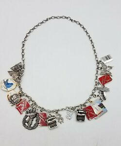 """925 Silver James Avery 17 3/4"""" Chain Mixed Metal Charm Necklace FC462"""