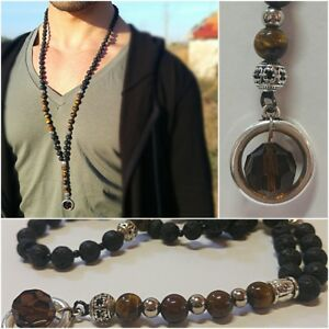 Men Long Beaded Necklace With Crystal Pendant, Mala Chain. Gift For Men