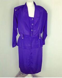 Vintage Purple Dark Lilac Dress 80s Size 12 Military Peplum