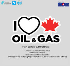 "4"" x 7"" I Love Canadian Gas & Oil Laminated Vinyl Decal"