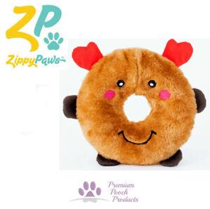 Zippy Paws Donutz Xmas Squeaky Plush Dog Toy Toss & Fetch - Reindeer