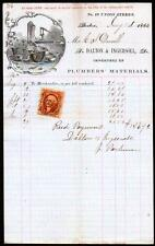 1866 Dalton & Ingersoll-Klempner Materialien Superb BOSTON MA Brief Kopf selten