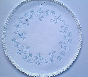 Printed to Embroider Table Centre summer Flowers circle with lace boarder CS0024