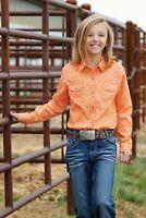 Cruel Girl Girls Orange Aztec Print Snap Up Western Shirt CTW3230016