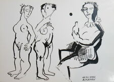 1991 - MODERNISM NUDE FEMALES INK PAINTING SIGN.