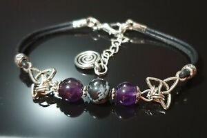 Triquetra Obsidian + Amethyst Bracelet, Grounding Calming~ Pagan Wicca Jewellery