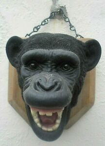 Faux Taxidermy Chimp/Tiger Politically Correct Wild Animal Heads on wood plaques