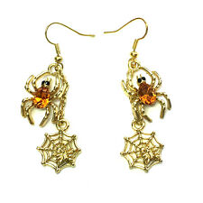 Topaz Color Yellow Spider  Web Dangling Hook Earrings For Halloween