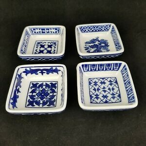 Pier 1 Imports 4 Pcs Porcelain Hand Painted Blue Small Square Dipping Bowl Sushi