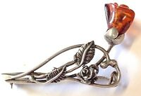 """Vintage Amber Sterling silver Large Brooch Pin """" CARVED ROSE """" GIFT BOXED"""