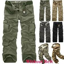Mens Cargo Work Trousers Army Military Combat Multi Pockets Loose Canvas Pants L