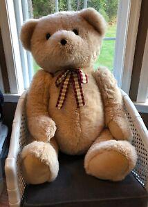 """FAO Schwarz Teddy Bear Tan Furry Large Plush Stuffed JUMBO 36"""" Great condition"""