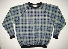 Mens Izod Golf Wind Rain Shirt Jacket Size L Nylon Plaid Green Blue Tan Pull On