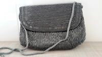 Vintage MAGID Gray Beaded Evening Clutch Bag Rope Strap Made in Macau