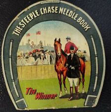 Vintage Steeplechase Blue Ribbon Sewing Needle Book Advertising Horse Horseshoe