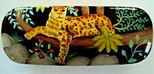 Hard Shell Eye Glasses Case Painted Leopard in Jungle tree Snap Shut Felt inter