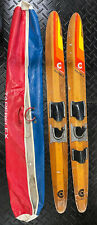 """Cypress Gardens 67"""" Vintage Wood Water Skis Dick Pope Jr. Cabin Decor Man Cave"""