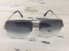 VTG DAD SUNGLASSES - Blue w/ Gold Frames, Open Bottom, Square, Distressed, RAD!