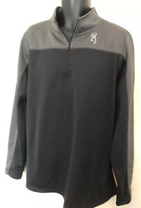 Browning Men's Pullover 1/4 Zip Jacket Size 2XL Black And Gray