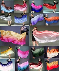 Color gradient women silk scarf shawl belly dance waving scarf veil 100*190cm