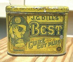 J G Dill's Best Cube Cut Plug Tobacco Pocket Tin