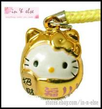 Gold Daruma Hello Kitty Strap for Mobile Phone, Bag / Cat Collar Bell Charm