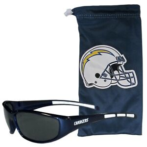 NFL LOS ANGELES CHARGERS SUNGLASS AND BAG SET MICROFIBER DRAWSTRING BAG NEW