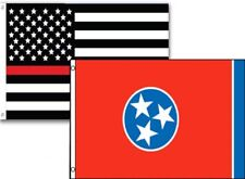 3x5 Usa Thin Red Line Tennessee State 2 Pack Flag Wholesale Set Combo 3'x5'