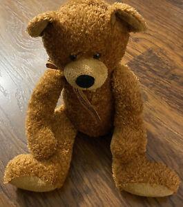 "Russ Brown Teddy Bear Plush Named Ripley with Brown Plaid Ribbon  20"""
