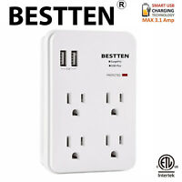 BESTTEN 2 USB 4-Outlet Wall Surge Protector Charger Multi AC Socket w/Light ETL
