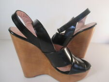 Jill Stuart Black Shiny Leather Criss Cross Ankle Strap High Wedge Sandals 36.5