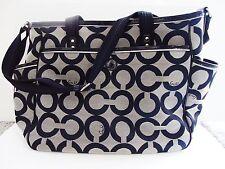 WOMENS COACH SIGNATURE BABY DIAPER BAG PURSE OP ART TOTE SILVER & BLACK 16981