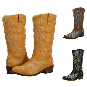 Tall Cowboy Boots for Women Cowgirl Boots Western Boots Ladies Cuban Heel Wide