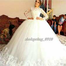 New White/Ivory Applique Puffy Wedding Dresses Bridal Gown Ball Gown Custom Size
