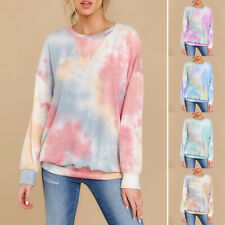 Womens Casual Round Neck Tie Dye Loose Tops Long Sleeve Pullover T-Shirt Blouse