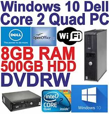 Cheap Windows 10 Dell Core 2 Quad Desktop PC Computer -8GB DDR3-500GB HDD-WIFI