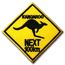 Kangaroo Next 100 Km. Patch Iron on Australian Roadsign Souvenir Sticker Badge
