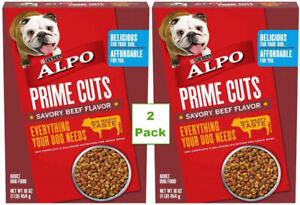 2 pk Purina Alpo Prime Cuts Savory Beef Flavor Adult Dog Food 1 Lb Box 16 oz