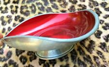 STAMPED 1950s MODERNIST TRAY DISH~ SILVER PEWTER & RED ENAMEL~HANDMADE IN NORWAY